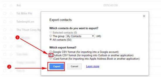export danh ba tu google mail