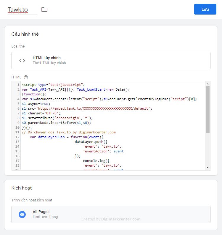 Chèn Tawk.to bằng Tag Manager với HTML đặc biệt