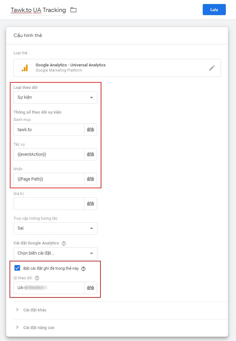 Thêm thẻ theo dõi sự kiện Google Analytics