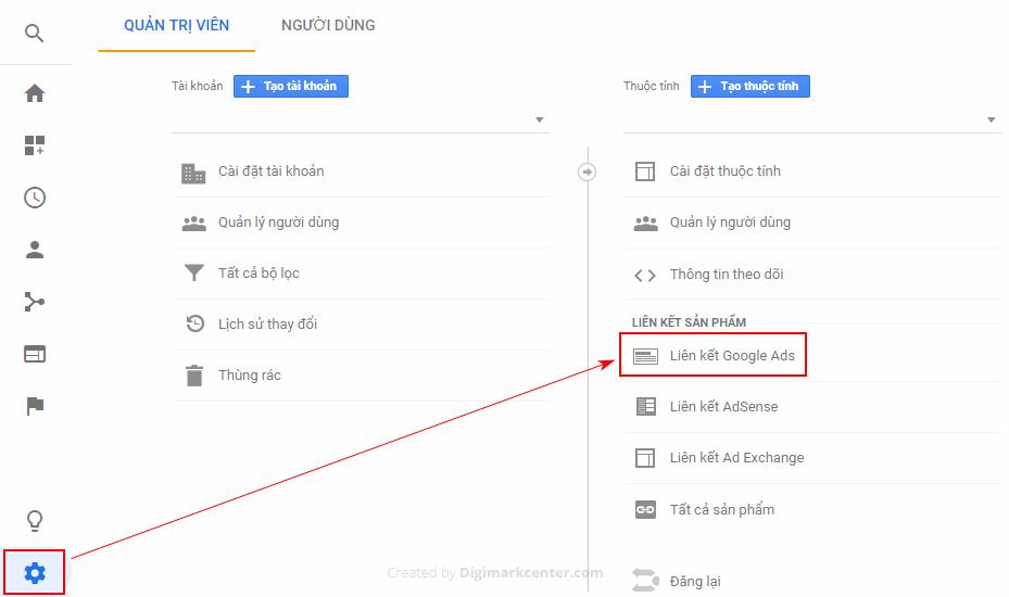 Trở lại Quản trị và liên kết với Google Ads