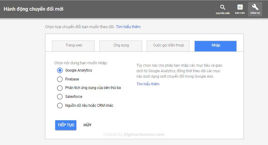 Nhập chuyển đổi Tawk.to từ Google Analytics vào Google Ads