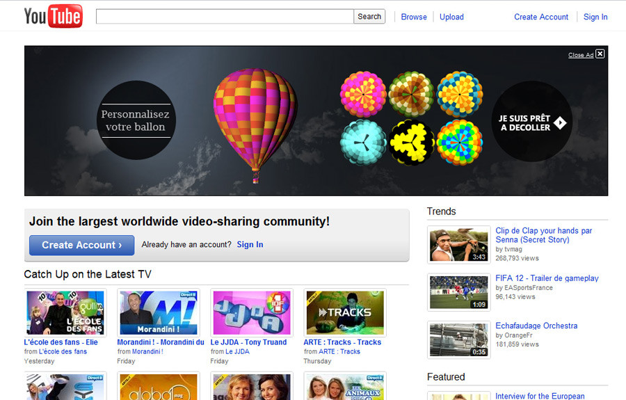 Image result for Youtube Masthead