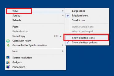 Sửa lỗi màn hình desktop không có biểu tượng icons windows 7